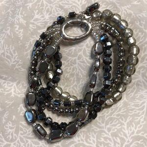 Silpada Hematite and Silver Multi-Strand Bracelet